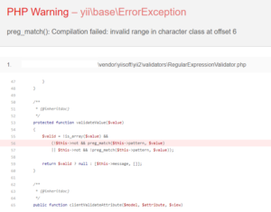 preg_match(): Compilation failed: invalid range in character class at offset 6